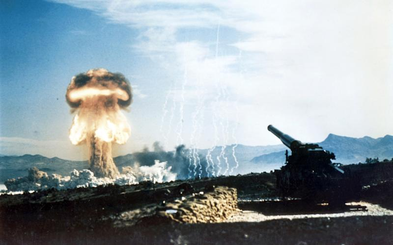 Nuclear artillery being fired during a test