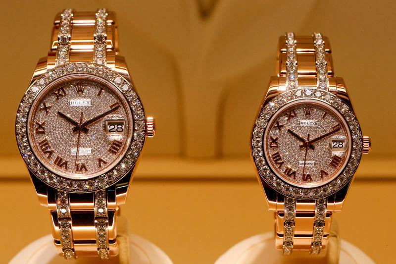 Rolex Datejust watches are displayed at the Baselworld Watch and Jewellery Show in Basel