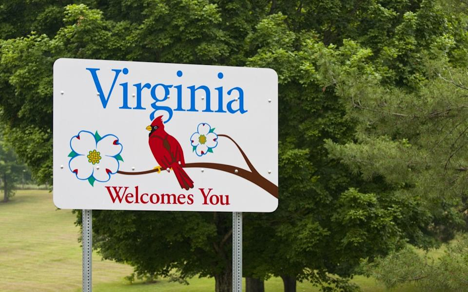 virginia state welcome sign