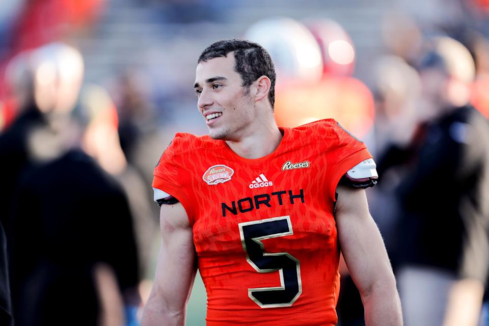 MOBILE, AL - JANUARY 26:  Wide receiver Andy Isabella #5 of Massachusetts of the North Team on the sidelines during the 2019 Resse's Senior Bowl at Ladd-Peebles Stadium on January 26, 2019 in Mobile, Alabama. The North defeated the South 34 to 24. (Photo by Don Juan Moore/Getty Images)