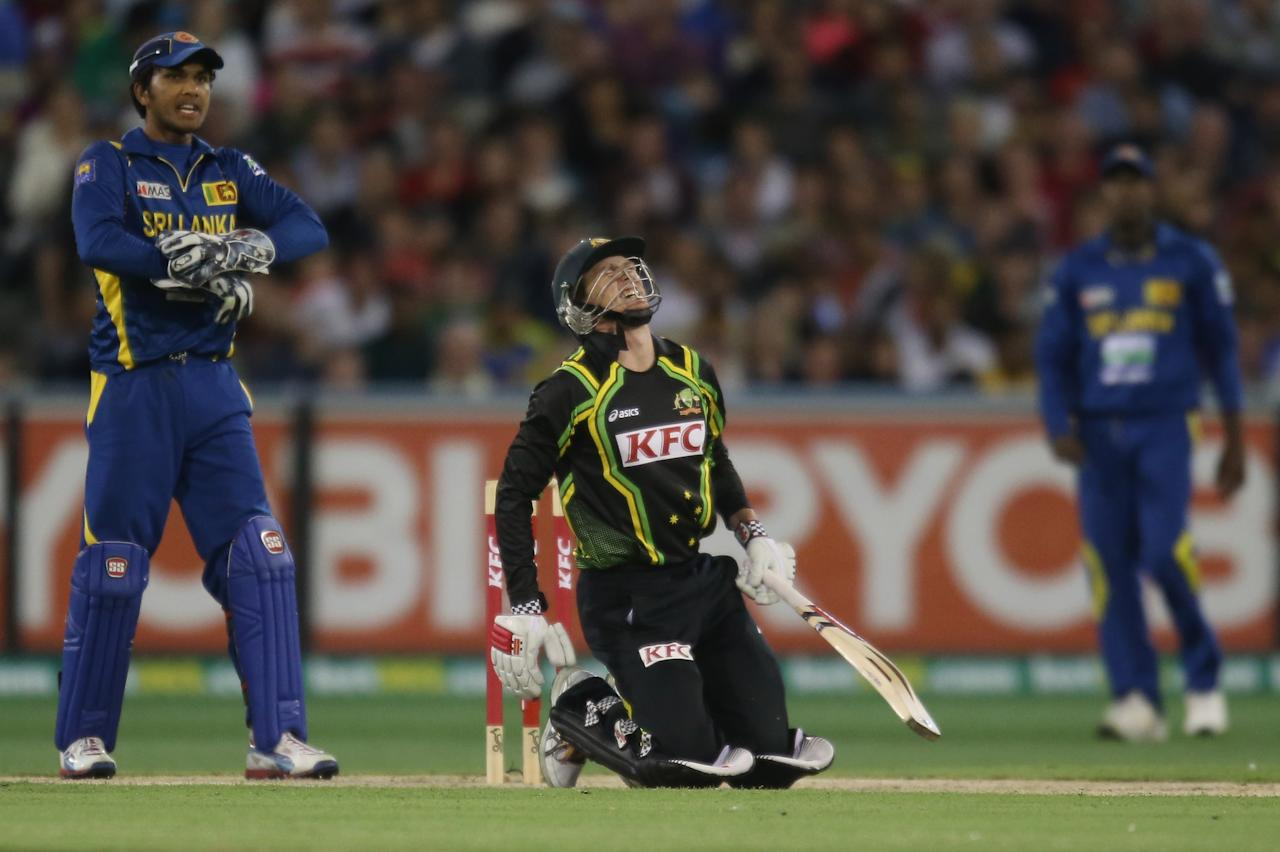 MELBOURNE, AUSTRALIA - JANUARY 28:  George Bailey of Australia reacts after being hit on the foot by the ball during game two of the Twenty20 International series between Australia and Sri Lanka at the Melbourne Cricket Ground on January 28, 2013 in Melbourne, Australia.  (Photo by Scott Barbour/Getty Images)