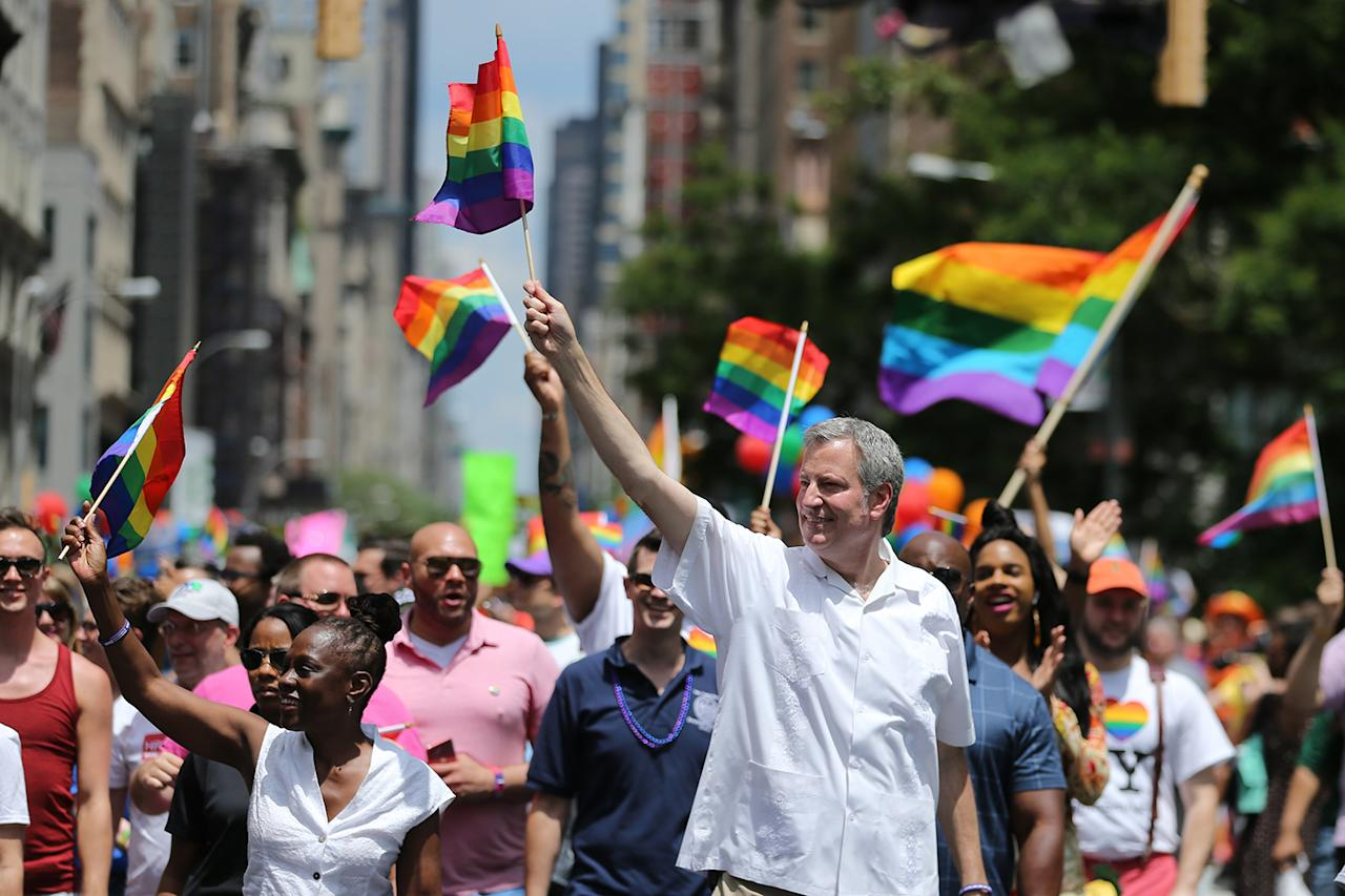 <p>Mayor Bill de Blasio marches in the N.Y.C Pride Parade in New York on June 25, 2017. (Photo: Gordon Donovan/Yahoo News) </p>