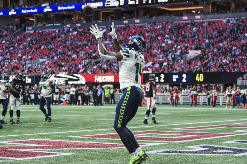 Oct 27, 2019; Atlanta, GA, USA; Seattle Seahawks wide receiver D.K. Metcalf (14) catches a touchdown pass against the Atlanta Falcons during the first half at Mercedes-Benz Stadium. Mandatory Credit: Dale Zanine-USA TODAY Sports