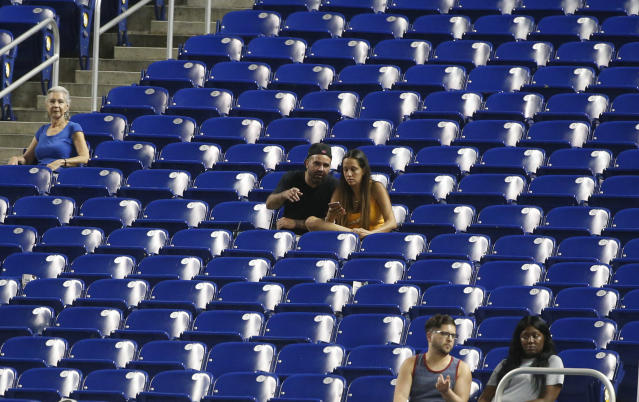Less than 10,000 fans are attending games at Marlins Park this season. (AP)