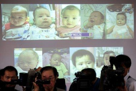 FILE PHOTO: Surrogate babies that Thai police suspect were fathered by a Japanese businessman who has fled from Thailand are shown on a screen during a news conference at the headquarters of the Royal Thai Police in Bangkok August 12, 2014. REUTERS/Athit Perawongmetha/File Photo