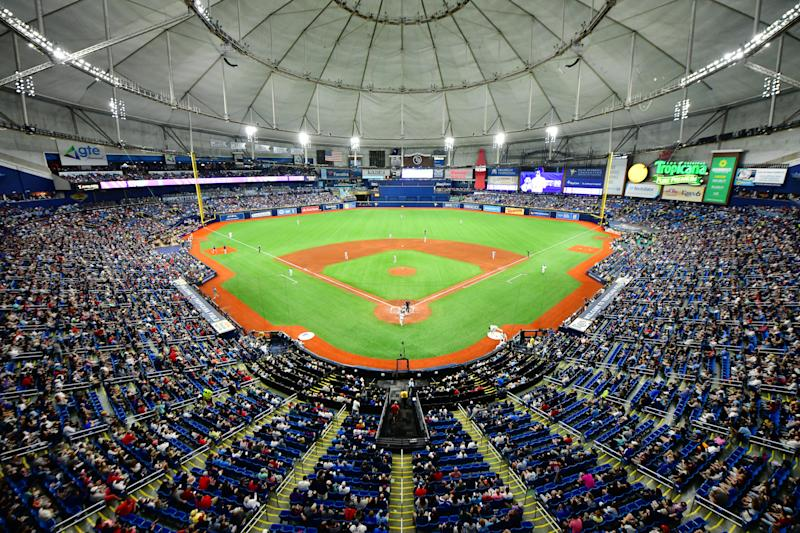 ST. PETERSBURG, FLORIDA - APRIL 20: A general view of Tropicana Field during the sixth inning of a game between the Tampa Bay Rays and the Boston Red Sox on April 20, 2019 in St. Petersburg, Florida. (Photo by Julio Aguilar/Getty Images)