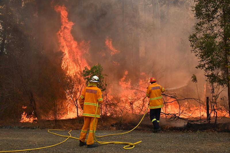 Firefighters tackle a bushfire to save a home in Taree, 350km north of Sydney.
