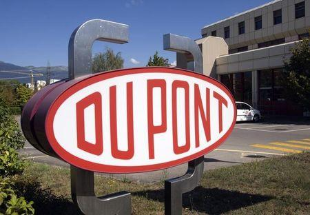 DuPont logo is pictured on research center in Meyrin near Geneva