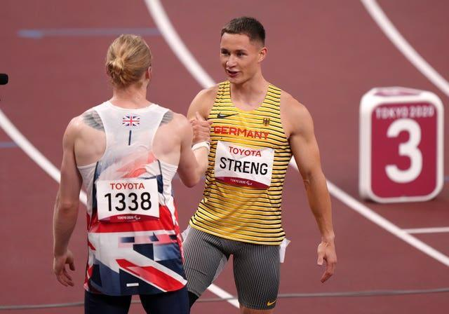 Germany's Felix Streng, right, grabbed 100m gold, with Jonnie Peacock taking joint bronze