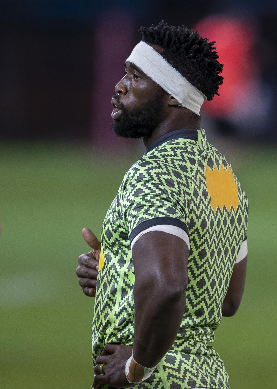 South Africa's captain Siya Kolisi during the first test rugby match between South Africa and Georgia at Loftus Versfeld in Pretoria, South Africa, Friday, July 2, 2021. (AP Photo/Themba Hadebe)