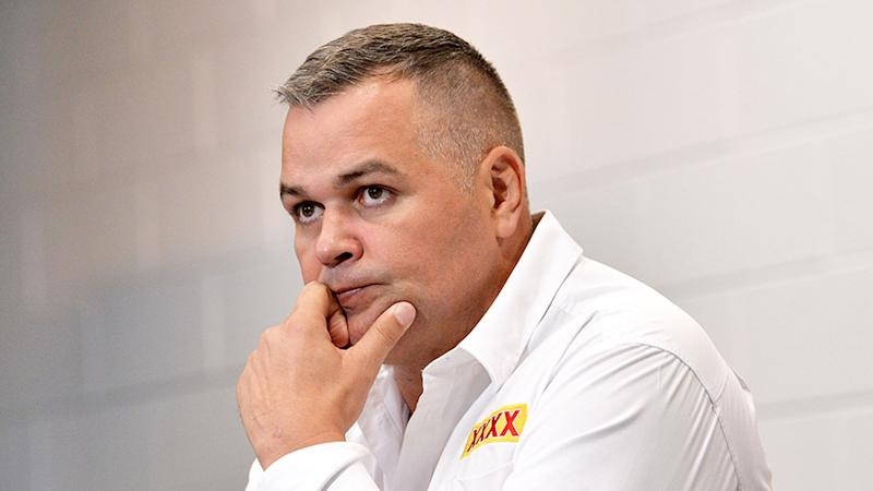 Pictured here, Anthony Seibold at a Brisbane Broncos press conference.