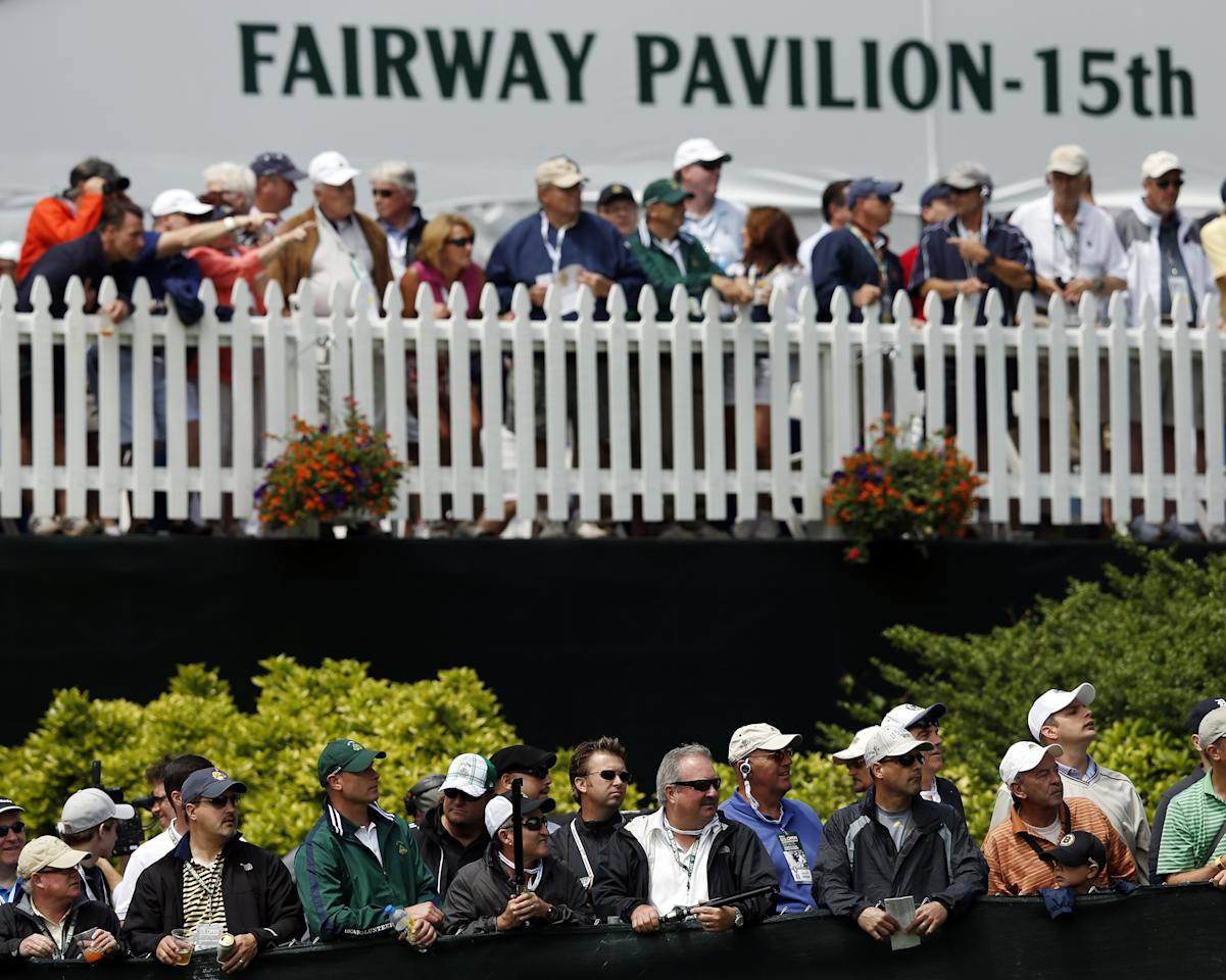 ARDMORE, PA - JUNE 14: Fans watch play on the 15th hole during Round Two of the 113th U.S. Open at Merion Golf Club on June 14, 2013 in Ardmore, Pennsylvania. (Photo by Scott Halleran/Getty Images)