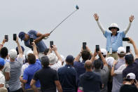 Brooks Koepka plays his shot from the fourth tee during the second round of the U.S. Open Golf Championship, Friday, June 18, 2021, at Torrey Pines Golf Course in San Diego. (AP Photo/Marcio Jose Sanchez)