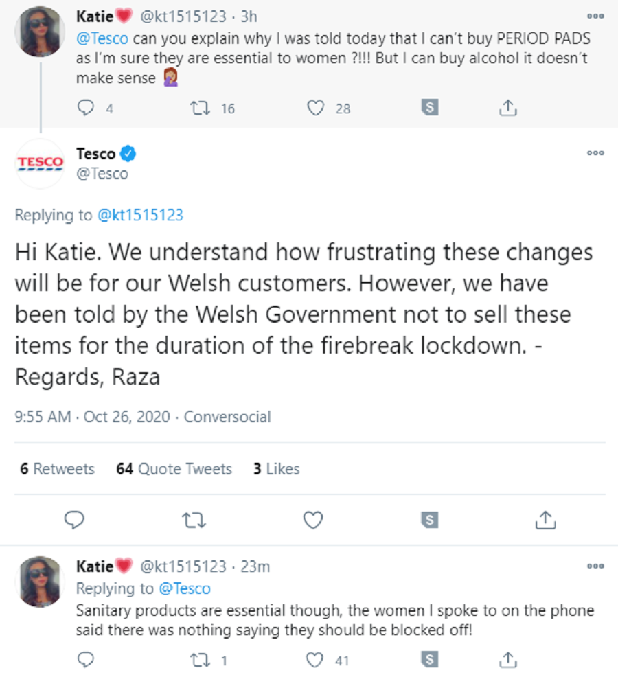 Tesco said on Twitter that Welsh Government guidelines had meant it could not sell sanitary products (Twitter/Screengrab/PA)