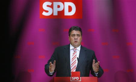 German SPD party leader Gabriel addresses media after party meeting in Berlin