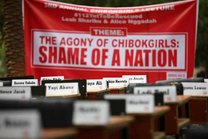 The abduction sparked memories of the kidnapping the Chibok schoolgirls. Pictured: a protest in April 2019, in which the names of missing girls were placed on desks
