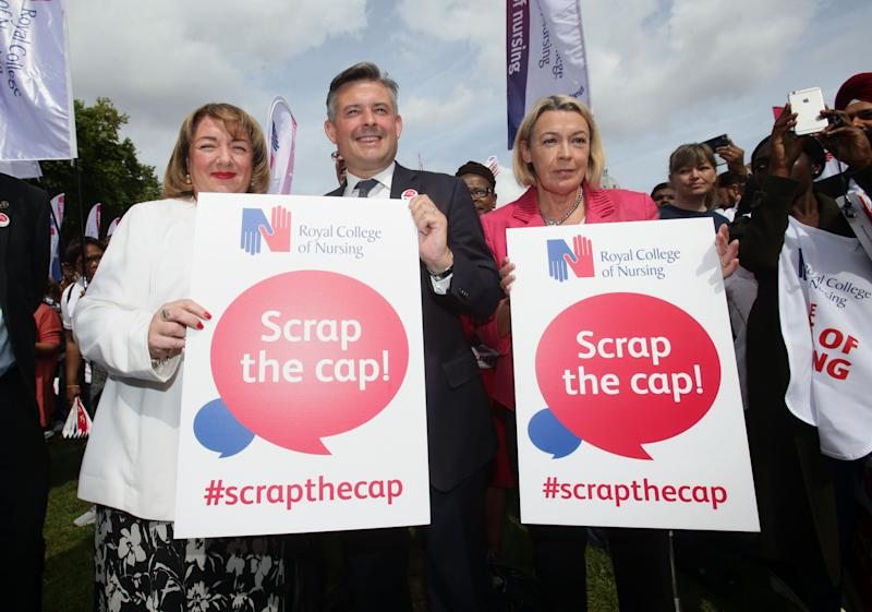 Shadow Health Secretary campaigning against the pay cap. (PA Wire/PA Images)