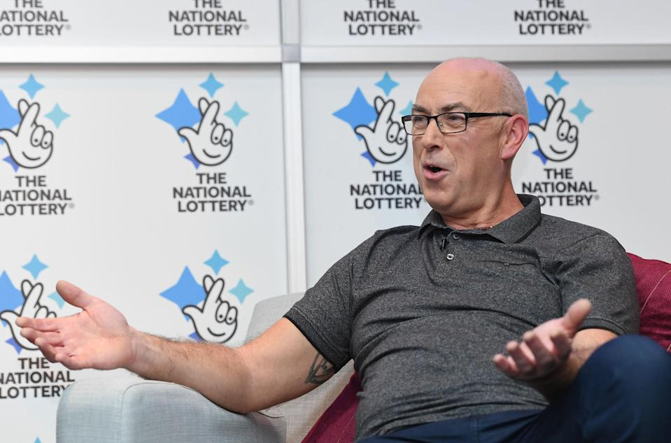 Andrew Clark, 51, from Boston, Lincolnshire, celebrates his £76,369,806.80 EuroMillions jackpot win (PA Images)