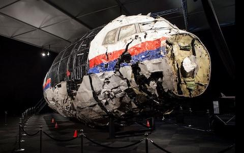 Investigators painstakingly reconstructed the nose of MH17 to analyse the missile damage - Credit: Dutch Safety Board