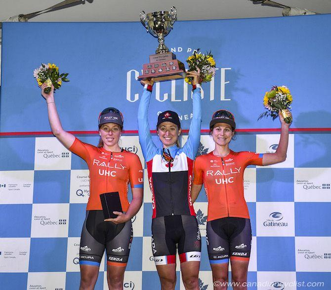 The podium at the 2019 Grand Prix Cycliste Gatineau: winner Leah Kirchmann (Team Canada) flanked by Rally UHC's Allison Beveridge and Krista Doebel-Hickok (Image credit: Rob Jones)