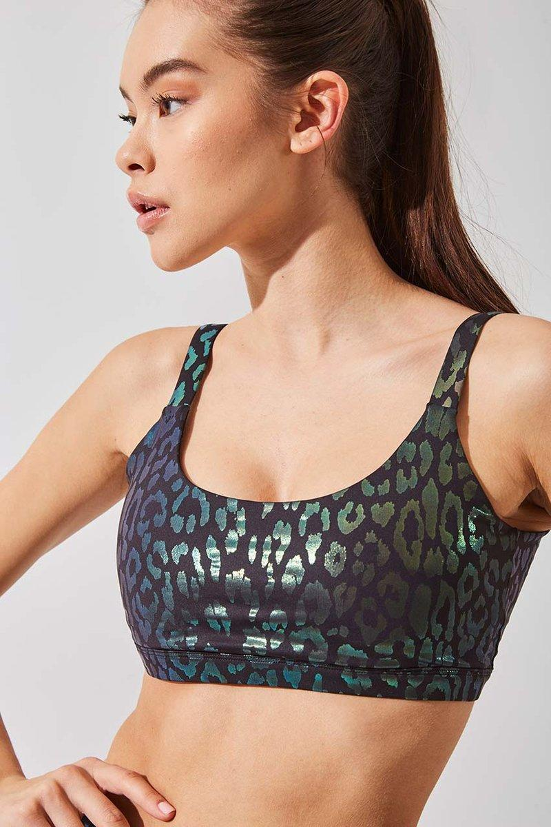 Intuition Iridescent Cheetah Print Light Support Bra. Image via MPG Sport