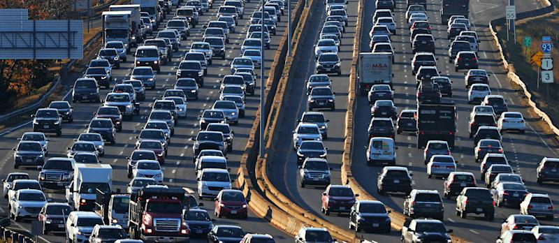 BOSTON, MA - NOVEMBER 4: An aerial view of morning traffic headed into the city on Route 93 northbound near Dorchester is pictured in Boston on Nov. 4, 2019. Bostons current traffic obsession is not hyperbole: The metropolitan region has 300,000 more cars and trucks than it did five years ago, according to an analysis of state data. Congestion has crippled every major commuting thoroughfare, from the south, west, or north. Some morning drives have doubled or worse, dooming drivers to thousands of hours a year lost to staring at the red river of taillights ahead and wondering why. (Photo by David L. Ryan/The Boston Globe via Getty Images)