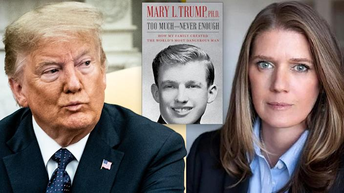 President Trump, Mary Trump and her new book. (Photo illustration: Yahoo News; photos: Erin Schaff/New York Times/Bloomberg via Getty Images, Simon & Schuster; Peter Serling via @MaryLTrump/Twitter)