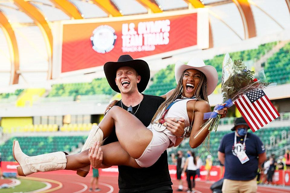 Tara Davis, second place in the Women's Long Jump Final, celebrates with boyfriend and Paralympian Hunter Woodhall on day nine of the 2020 U.S. Olympic Track & Field Team Trials at Hayward Field on June 26, 2021 in Eugene, Oregon.