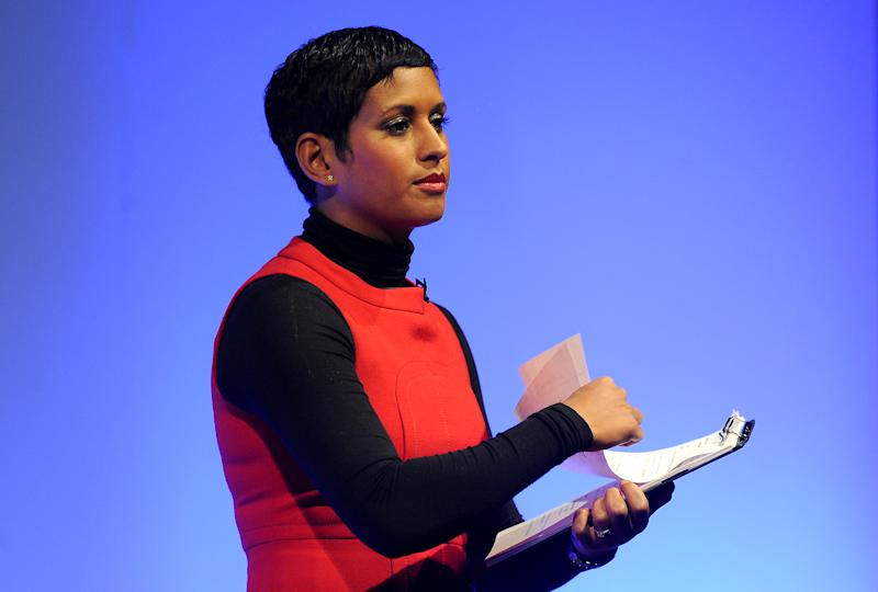 Journalist and television presenter Naga Munchetty talks during the Federation of Small Businesses Conference 2013 at The Curve, Leicester. PRESS ASSOCIATION Photo. Picture date: Friday March 22, 2013. Photo credit should read: Joe Giddens/PA Wire