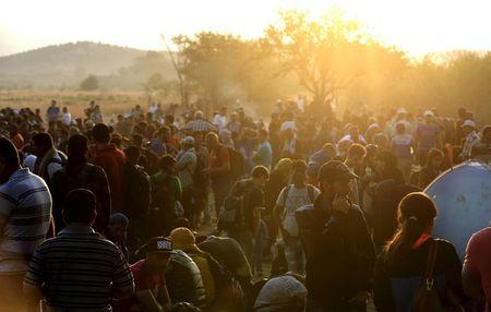 A new group of more than a thousand immigrants wait at the border line of Macedonia and Greece to enter into Macedonia near Gevgelija railway station August 20, 2015.  REUTERS/Ognen Teofilovski