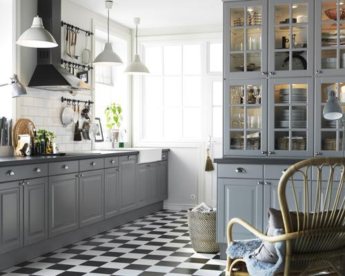 """<b>Feature flooring<br></b><br>Get the flooring right and it can make a huge difference to a kitchen, without having to cost a fortune. Here, black and white chequerboard flooring compliments the dark worktops and grey of the <a href=""""http://www.ikea.com/gb/en/search/?query=Lidingo"""" rel=""""nofollow noopener"""" target=""""_blank"""" data-ylk=""""slk:Lidingo kitchen"""" class=""""link rapid-noclick-resp"""">Lidingo kitchen</a> from Ikea, for a timelessly classic look. If you have a galley kitchen, a chequerboard pattern will create the impression of width - the wider the squares, the wider it will look."""