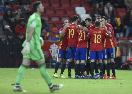 Football Soccer - Spain v Israel - 2018 World Cup Qualifying European Zone - Group G - El Molinon Stadium, Gijon, Spain, 24/3/17 Spain's Vitolo (C) celebrates with team mates after scoring second goal. REUTERS/Eloy Alonso