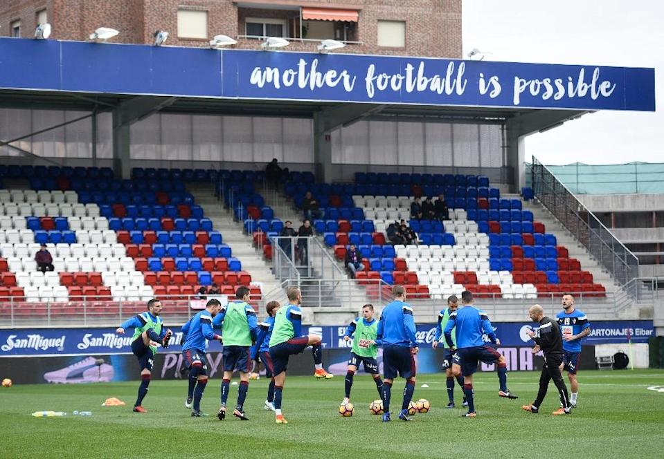 Eibar may be a modest club but are spending their third consecutive season in the Spanish Liga, competing with the world's two wealthiest clubs (AFP Photo/ANDER GILLENEA)