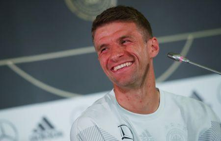 Soccer Football - World Cup - Germany Press Conference - Sochi, Russia - June 20, 2018 Germany's Thomas Muller during the press conference REUTERS/Hannah McKay