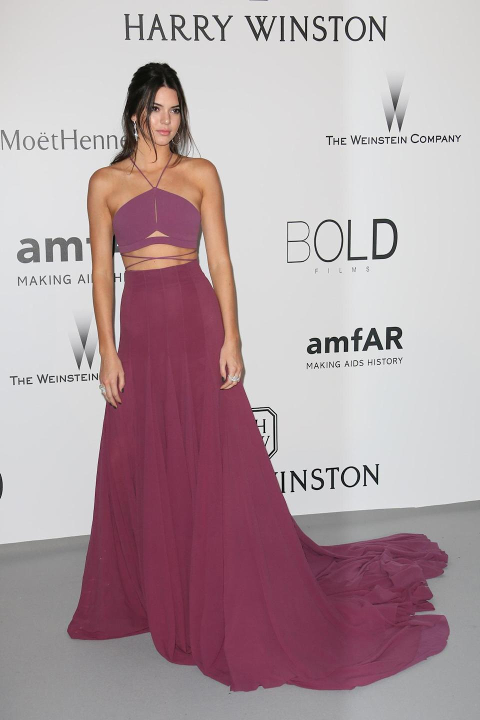Jenner basically won the second night of Cannes when she wore this custom Calvin Klein number. Not everyone could pull off a halter crop top with cutouts and a flowing skirt, but the model owns the look like a pro.