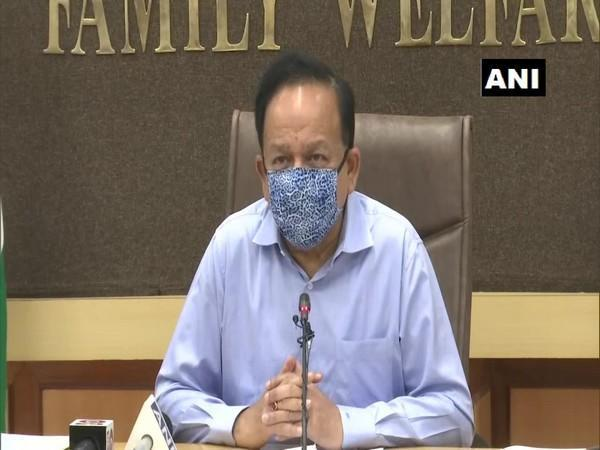 Union Health Minister Harsh Vardhan held a review meeting on COVID19 situation in UP. Photo/ANI
