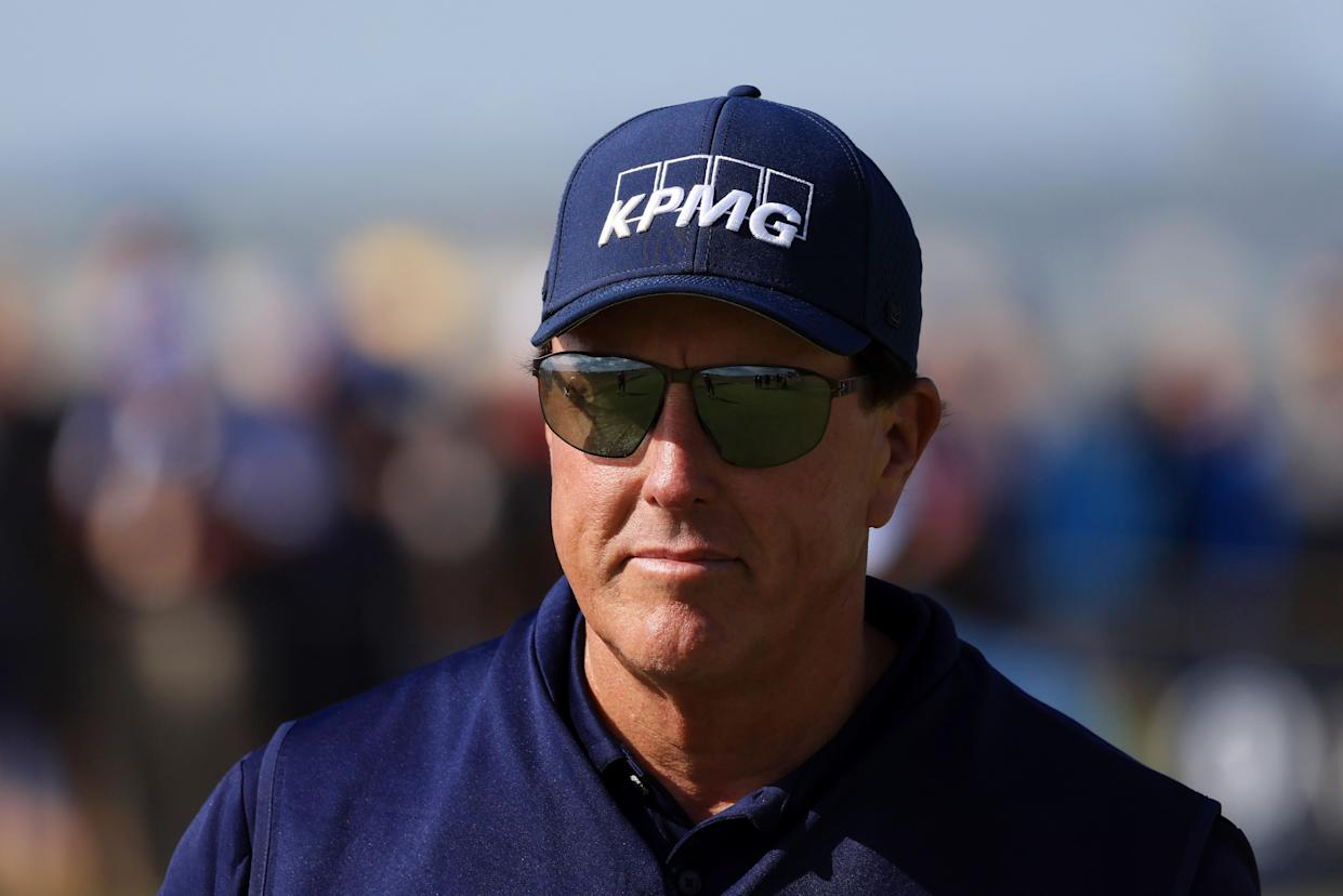 Phil Mickelson of the United States looks on from the eighth hole during Day One of The 149th Open at Royal St George's Golf Club on July 15, 2021 in Sandwich, England. (Photo by Chris Trotman/Getty Images)