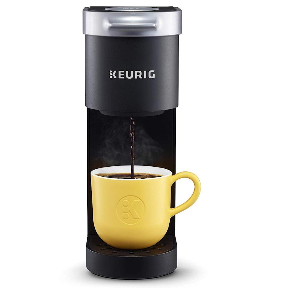 """<p><strong>Keurig</strong></p><p>amazon.com</p><p><strong>$86.23</strong></p><p><a href=""""https://www.amazon.com/dp/B07GV2S1GS?tag=syn-yahoo-20&ascsubtag=%5Bartid%7C10065.g.27570560%5Bsrc%7Cyahoo-us"""" rel=""""nofollow noopener"""" target=""""_blank"""" data-ylk=""""slk:Shop Now"""" class=""""link rapid-noclick-resp"""">Shop Now</a></p><p>He can now add """"barista"""" to his resume with this one-cup wonder. It's compact size means he can even make fresh brew right at his desk. </p>"""