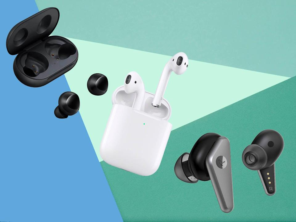Some in-ear headphones have a neckband to connect the two earphones, but others are what's called true wireless which are just two distinct earbuds and nothing else (iStock/The Independent)