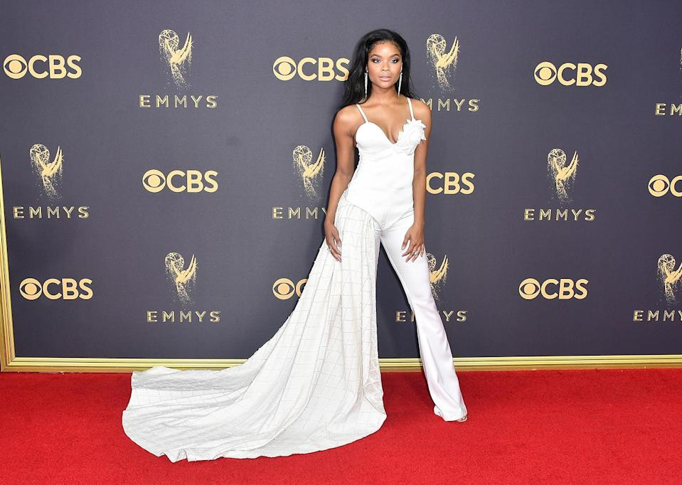 <p>Ajiona Alexus attends the 69th Primetime Emmy Awards on Sept. 17, 2017.<br> (Photo: Getty Images) </p>