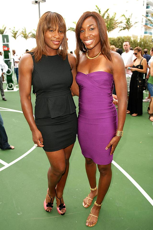 """Also spotted in South Beach ... Serena and Venus Williams, who served up some serious style at a corporate shindig. The tennis aces have certainly stepped up their fashion games in the past few months. Larry Marano/<a href=""""http://www.gettyimages.com/"""" target=""""new"""">GettyImages.com</a> - February 5, 2010"""