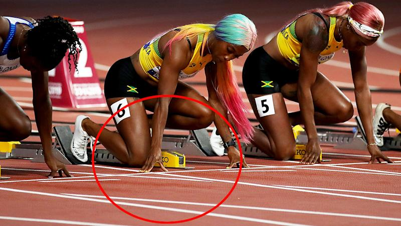 Dina Asher-Smith, Shelly-Ann Fraser-Pryce and Elaine Thompson, pictured here before the women's 100m final.