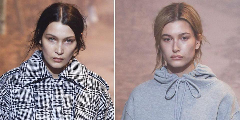 <p>For the Off-White runway show at Paris Fashion Week, Bella and Hailey went makeup-free and looked totally glam. </p>