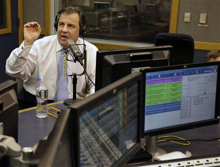 New Jersey Governor Chris Christie speaks during his radio program from Ewing, New Jersey