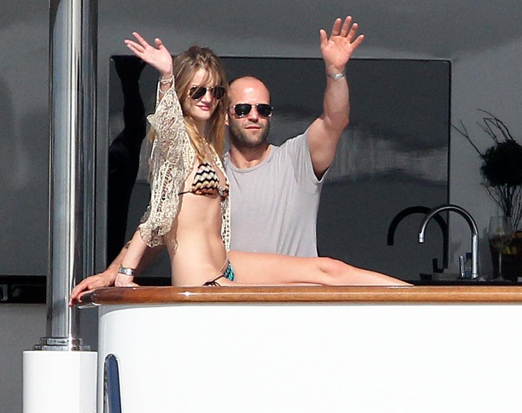 "Jason Statham and his gorgeous gal pal Rosie Huntington-Whiteley bid adieu to friends while cruising around St. Barts. <a href=""http://www.splashnewsonline.com/"" target=""new"">Splash News</a> - January 2, 2011"