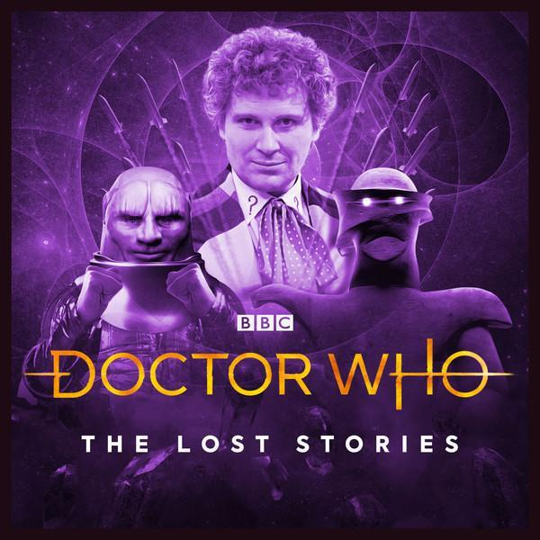 an image of the Sixth Doctor and two alien creatures on a dark purple tinted cover for a Big Finish audio series. Title says BBC Doctor Who Mind of the Hodiac