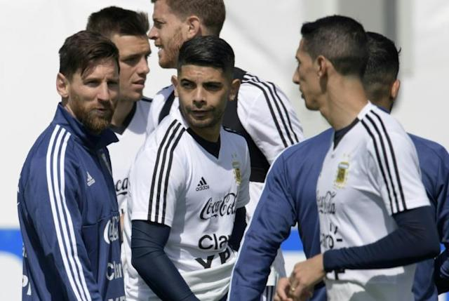 Argentina's Lionel Messi (L) and his teammates take part in a training session in Bronnitsy, near Moscow, on June 20, on the eve of their Russia 2018 World Cup Group D match against Croatia