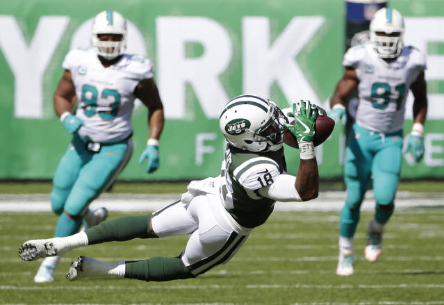 <p>New York Jets wide receiver ArDarius Stewart (18) catches a pass for a first down during the first half of an NFL football game against the Miami Dolphins Sunday, Sept. 24, 2017, in East Rutherford, N.J. (AP Photo/Seth Wenig) </p>