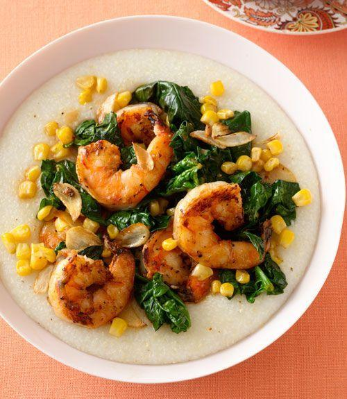 """<p>Spicy shrimp, creamy grits, sweet corn and mild, sauteéd spinach. You may want to make extra.</p><p><strong><a href=""""https://www.countryliving.com/food-drinks/recipes/a33278/cajun-shrimp-spinach-and-grits-recipe/"""" rel=""""nofollow noopener"""" target=""""_blank"""" data-ylk=""""slk:Get the recipe"""" class=""""link rapid-noclick-resp"""">Get the recipe</a>.</strong></p><p><strong><a class=""""link rapid-noclick-resp"""" href=""""https://www.amazon.com/PALMETTO-FARMS-Stone-Ground-White/dp/B009HHNUUE/?tag=syn-yahoo-20&ascsubtag=%5Bartid%7C10050.g.32969162%5Bsrc%7Cyahoo-us"""" rel=""""nofollow noopener"""" target=""""_blank"""" data-ylk=""""slk:SHOP GRITS"""">SHOP GRITS</a><br></strong></p>"""