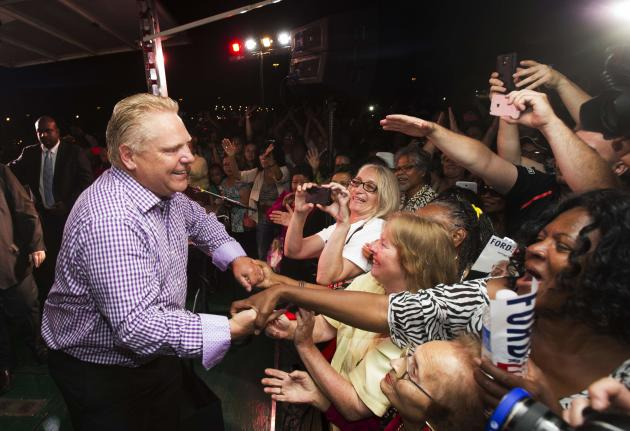 Toronto mayoral candidate Doug Ford greets supporters after his speech at Ford Fest.